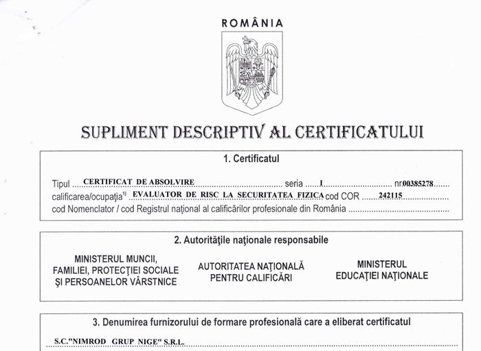 Supliment descriptiv al certificatului de absolvire 001