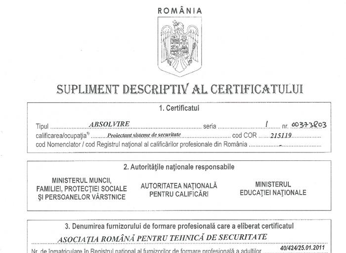 Supliment certificat ARTS 1