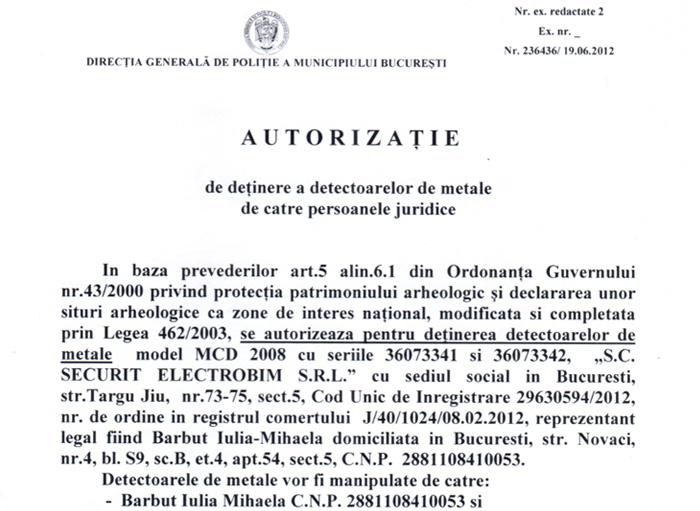 Autorizatie pentru detinerea detectoarelor de metale