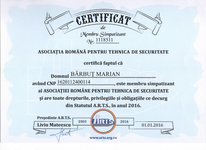 Certificat de membru simpatizant