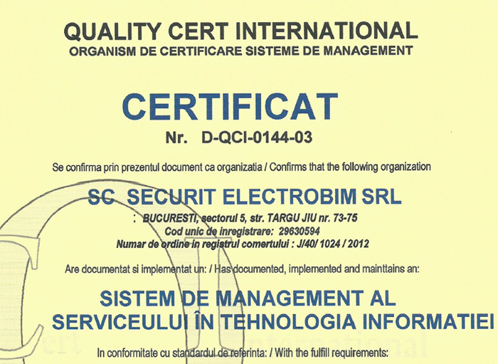 Certificat ISO 20000