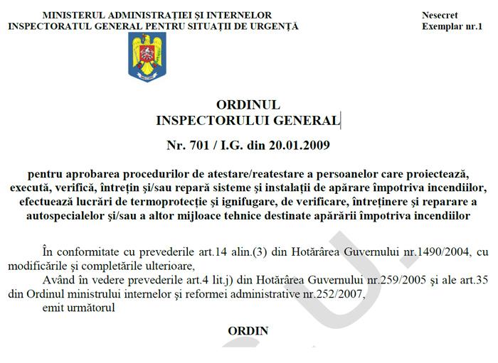 Ordinul inspectorului general